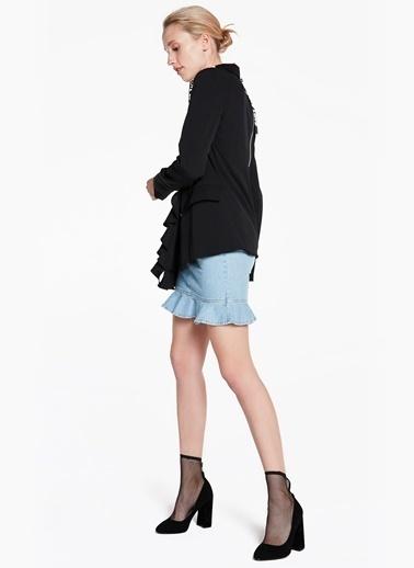 Eteği Fırfır Şeritli Sırtı Fermuarlı Ceket-Twist